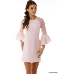 Sukienka szerokimi rękawami Dora różowa. Czerwone sukienki hiszpanki Pakamera, z tiulu, mini, rozkloszowane. Za 179,00 zł.