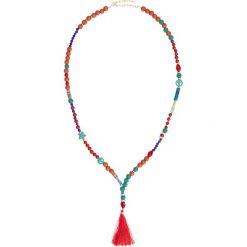 Długi łańcuszek bonprix truskawkowo-ciemnoniebiesko-zielony miętowy. Czerwone łańcuszki damskie bonprix, długie. Za 29,99 zł.