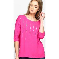 Fuksjowa Bluzka Fine Rain. Różowe bluzki nietoperze marki Born2be, m, z okrągłym kołnierzem. Za 44,99 zł.