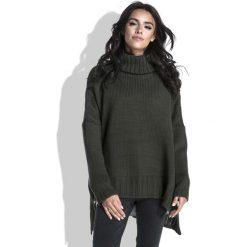Swetry oversize damskie: Oliwkowy Sweter z Szerokim Golfem