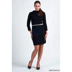 Prosta sukienka z dzianiny, SUK001 czarny MKM. Czarne sukienki dzianinowe Pakamera, na co dzień, mini. Za 123,00 zł.