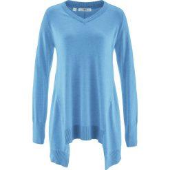 Swetry klasyczne damskie: Sweter z dłuższymi bokami, długi rękaw bonprix niebieski melanż