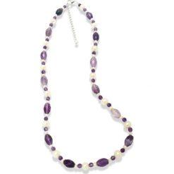 """Naszyjniki damskie: Naszyjnik """"Rebecca"""" z pereł w kolorze fioletowo-białym – dł. 43 cm"""