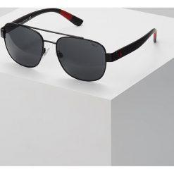 Polo Ralph Lauren Okulary przeciwsłoneczne semishiny black/grey. Czarne okulary przeciwsłoneczne męskie aviatory Polo Ralph Lauren. Za 529,00 zł.