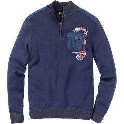 Sweter ze stójką bonprix indygo. Niebieskie golfy męskie marki bonprix, l, z haftami. Za 79,99 zł.