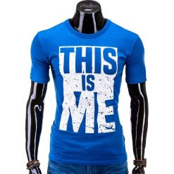 T-shirty męskie z nadrukiem: T-SHIRT MĘSKI Z NADRUKIEM S598 - NIEBIESKI