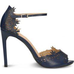 Sandały SAMIJA. Niebieskie sandały damskie marki Gino Rossi, ze skóry, na wysokim obcasie. Za 299,90 zł.
