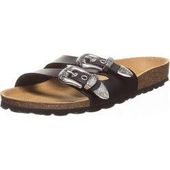 Buty damskie: Skórzane klapki w kolorze czarnym