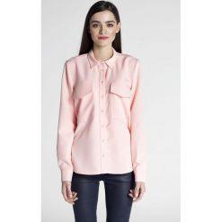 Bielizna damska: Różowa Klasyczna Koszula z Kieszeniami z Patką