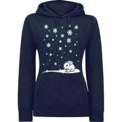 Bluzy damskie: zimowy króliczek Bluza z kapturem damska ciemnoniebieski