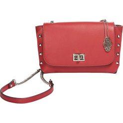 """Skórzana torebka """"Clarysse"""" w kolorze czerwonym - 21 x 13 x 7,5 cm. Czerwone torebki klasyczne damskie Oqpo, w paski, z materiału. W wyprzedaży za 280,95 zł."""