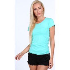 T-shirt dekolt półokrągły miętowy 724. Zielone t-shirty damskie Fasardi, l. Za 39,00 zł.