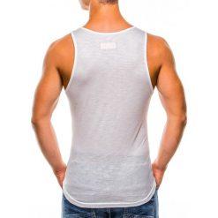 BOKSERKA MĘSKA Z NADRUKIEM S828 - ECRU. Brązowe t-shirty męskie z nadrukiem Ombre Clothing, m. Za 29,00 zł.