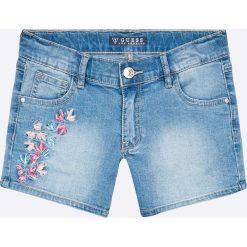Guess Jeans - Szorty dziecięce 118-175 cm. Niebieskie szorty damskie z printem marki Guess Jeans, z obniżonym stanem. W wyprzedaży za 179,90 zł.