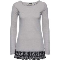 Swetry klasyczne damskie: Sweter dzianinowy z koronką bonprix jasnoszaro-czarny
