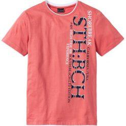 """T-shirty męskie z nadrukiem: T-shirt """"Slim fit"""" bonprix koralowy"""