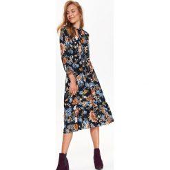 Sukienki: SUKIENKA MIDI W KWIATY, Z WIĄZANIEM PRZY DEKOLCIE