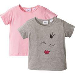 Koszulka (2 szt.) bonprix jasnoszary melanż z nadrukiem + pudrowy jasnoróżowy gładki. Niebieskie bluzki dziewczęce marki bonprix, z nadrukiem, bez rękawów. Za 33,98 zł.