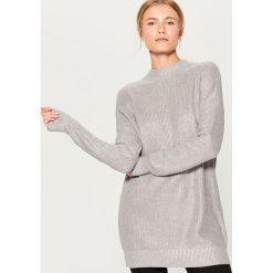 Długi sweter z półgolfem - Jasny szar. Szare swetry klasyczne damskie marki DOMYOS, z bawełny. Za 129,99 zł.