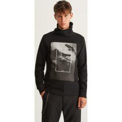 Bluza z kominem - Czarny. Czarne bluzy męskie rozpinane Reserved, l. Za 99,99 zł.