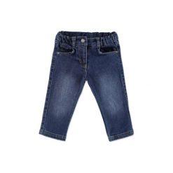STEIFF Girls Mini Spodnie dżinsowe washed blue denim. Niebieskie spodnie chłopięce marki Steiff, z aplikacjami, z bawełny. Za 189,00 zł.