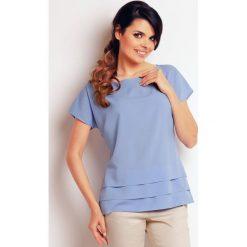 Bluzki, topy, tuniki: Jasno Niebieska Elegancka Bluzka z Ozdobnymi Zakładkami