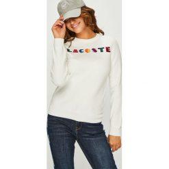 Lacoste - Sweter. Szare swetry klasyczne damskie Lacoste, z bawełny, z okrągłym kołnierzem. Za 639,90 zł.