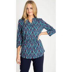 Bluzki damskie: Zielona wiązana bluzka ze wzorem QUIOSQUE