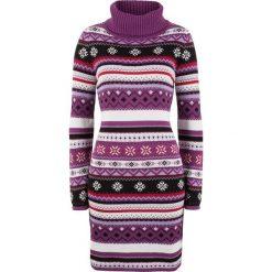 Sukienka dzianinowa żakardowa bonprix fiołkowy wzorzysty. Fioletowe sukienki dzianinowe marki DOMYOS, l. Za 89,99 zł.