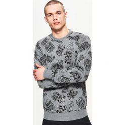 Odzież męska: Bluza z nadrukiem w czaszki - Jasny szary