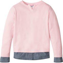 """Bluzy dziewczęce: Bluza z koszulową wstawką bonprix pastelowy jasnoróżowy - niebieski """"stone"""""""
