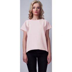 Bluzki damskie: Różowa Ciekawa Bluzka z Kopertowym Założeniem na Plecach