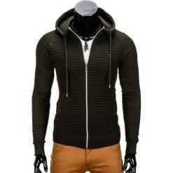 BLUZA MĘSKA ROZPINANA Z KAPTUREM B679 - KHAKI. Czarne bluzy męskie rozpinane marki Ombre Clothing, m, z bawełny, z kapturem. Za 59,00 zł.