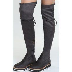 Szare Kozaki Chortle. Szare buty zimowe damskie marki Born2be, z materiału, z okrągłym noskiem, na obcasie. Za 129,99 zł.