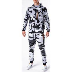 KOMPLET MĘSKI BLUZA + SPODNIE Z17 - CZARNY/BIAŁY. Białe bluzy męskie rozpinane marki Ombre Clothing, m, z bawełny. Za 119,00 zł.