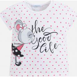 Mayoral - Top dziecięcy 98-134 cm. Różowe bluzki dziewczęce marki Mayoral, z bawełny, z okrągłym kołnierzem. Za 79,90 zł.