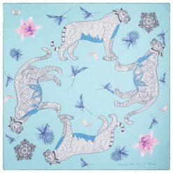 Chusty damskie: Versace 19.69 Chusta Damska Jasnoniebieski Wild Leopard