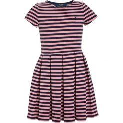 Odzież dziecięca: Polo Ralph Lauren STRIPE PONTE Sukienka dzianinowa rugby pink/newport navy
