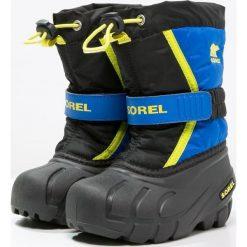 Sorel FLURRY Śniegowce black/super blue. Niebieskie buty zimowe chłopięce Sorel, z materiału. Za 229,00 zł.