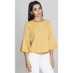 Żółta Krótka Bluzka z Rozkloszowanymi Rękawami. Żółte bluzki z odkrytymi ramionami marki Molly.pl, l, w jednolite wzory, z jeansu, biznesowe, z dekoltem na plecach, z krótkim rękawem. Za 125,90 zł.