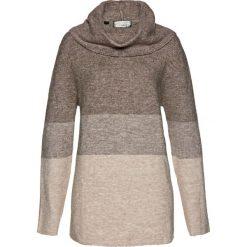 Golfy damskie: Sweter bonprix brązowo-kamienisto-naturalny