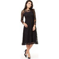 Midi Sukienka z Czarnej Koronki. Czarne sukienki balowe marki Molly.pl, l, w koronkowe wzory, z koronki, midi, rozkloszowane. Za 149,90 zł.