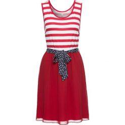 Sukienka bonprix czerwono-biały w paski. Białe sukienki letnie bonprix, w paski, z szyfonu. Za 79,99 zł.
