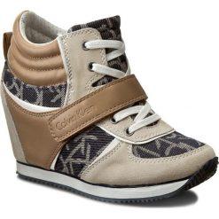Sneakersy CALVIN KLEIN JEANS - Viridiana RE9265 Midnight/N. Brązowe sneakersy damskie marki Calvin Klein Jeans, z jeansu. W wyprzedaży za 359,00 zł.