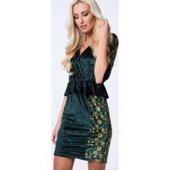 Sukienka z weluru z baskinką zielona MP60260. Zielone sukienki Fasardi, l, z weluru, baskinki. Za 69,00 zł.