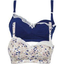 Bielizna ciążowa: Biustonosz do karmienia piersią (2 szt.) bonprix ecru z nadrukiem + niebieski