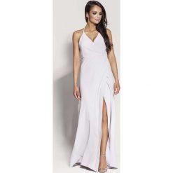 Popielata Elegancka Długa Sukienka Wiązana na Szyi. Szare długie sukienki Molly.pl, na imprezę, na lato, l, eleganckie, z kopertowym dekoltem, z długim rękawem, dopasowane. Za 288,90 zł.
