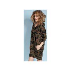 Zakapturzona Carla - sukienka z kapturem - moro. Czarne sukienki z falbanami marki Sinsay, l, z kapturem. Za 219,00 zł.