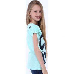 Odzież dziecięca: Bluzka dziewczęca z krótkim rękawem i napisem miętowa NDZ81690