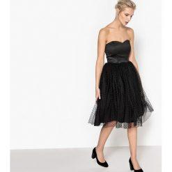 Sukienki hiszpanki: Sukienka z gorsetowym odcięciem, dół z haftem atłaskowym